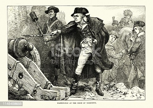 Vintage engraving of American Revolutionary War, George Washington firing a cannon at the Siege of Yorktown