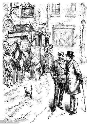 """An American sea captain talking to another man (who is wearing a top hat and carrying a lorgnette)  in a street whilst outside an inn in the background, aa stage coach is being loaded with luggage. A cat is crossing the road. From """"The Cottager and Artisan 1890"""". Published by The Religious Tract Society, London."""