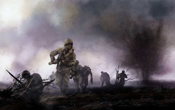 American soldiers on battlefield. vector art illustration