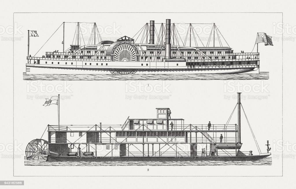 1897 年に公開されたアメリカの蒸気船木材彫刻 - 19世紀のベクター ...