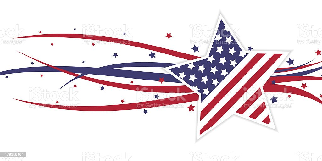 American themed star and swirls vector art illustration