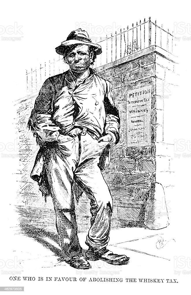 American Tramp vector art illustration