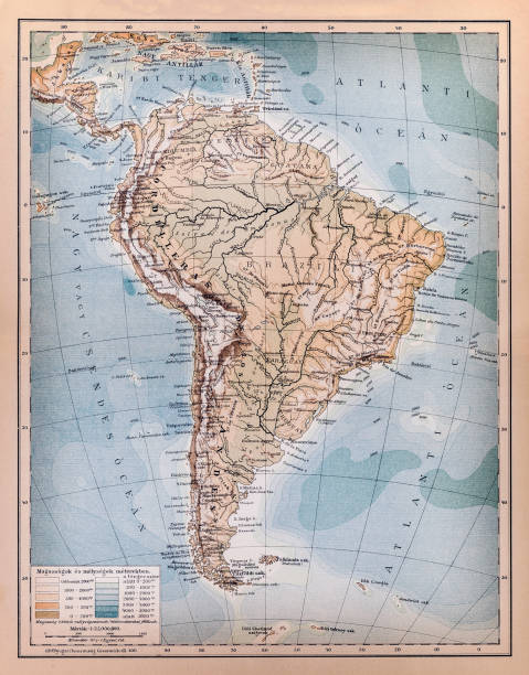 america's mountain and water system - south america maps stock illustrations, clip art, cartoons, & icons