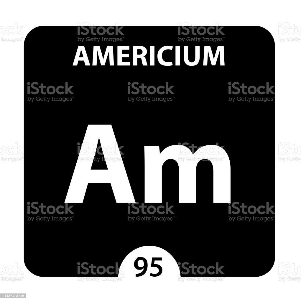 アメリシウム記号原子番号と原子量でアメリシウムに署名します光沢の ...