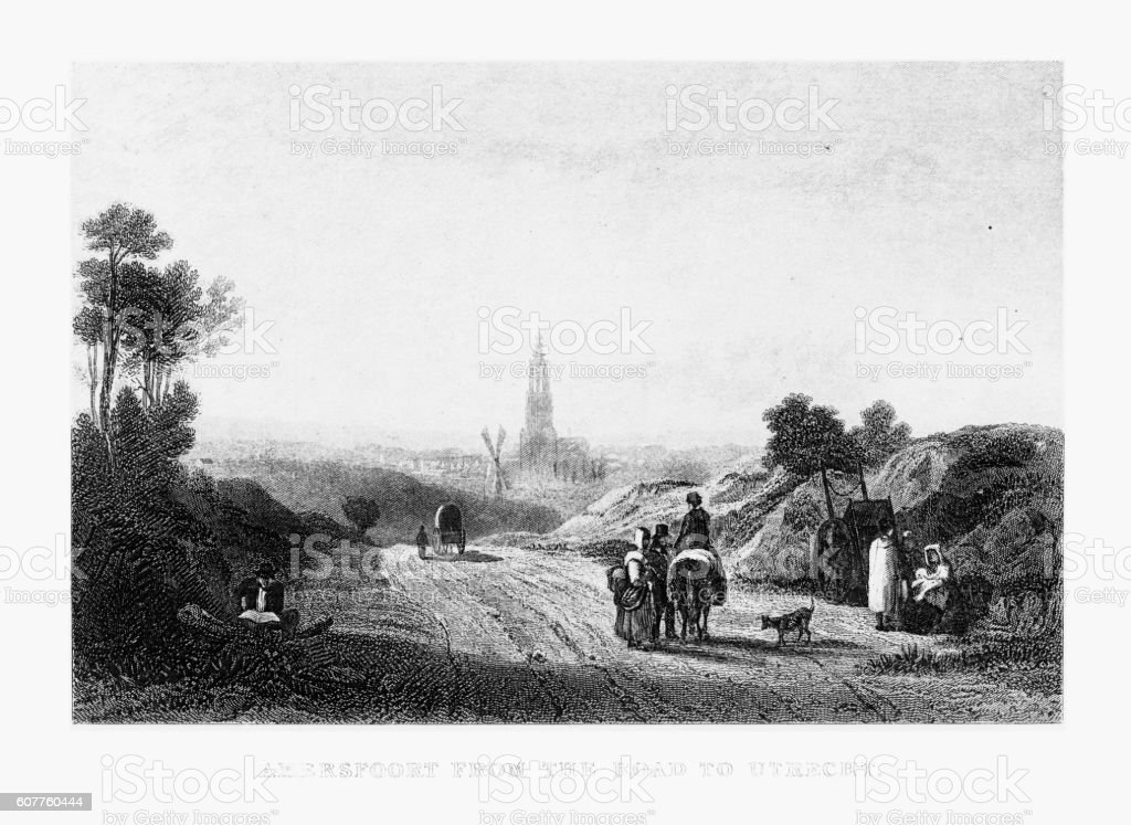 Amersfoort From The Road to Utrecht, Netherlands 1887 vector art illustration