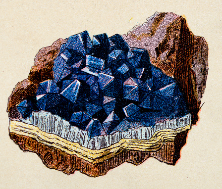 Amethyst, mineral stone antique illustration