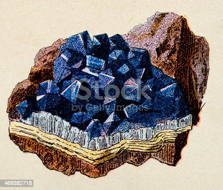 Amethyst, mineral stone antique illustration