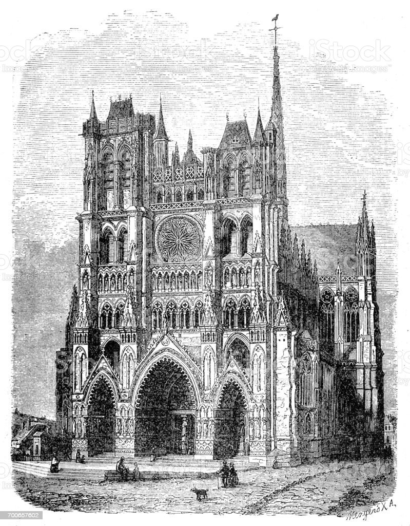 Amiens Cathedral, France vector art illustration