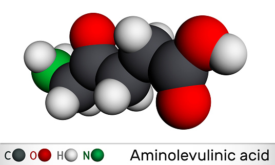 Aminolevulinic acid, δ-Aminolevulinic acid, dALA, δ-ALA, 5ALA molecule. It is an endogenous non-proteinogenic amino acid. Molecular model. 3D rendering