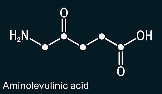 Aminolevulinic acid, δ-Aminolevulinic acid, dALA, δ-ALA, 5ALA molecule. It is an endogenous non-proteinogenic amino acid. Skeletal chemical formula. Dark blue background
