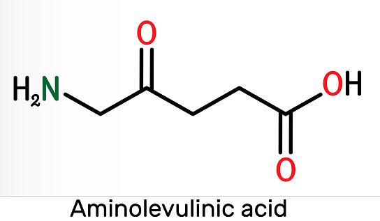 Aminolevulinic acid, δ-Aminolevulinic acid, dALA, δ-ALA, 5ALA molecule. It is an endogenous non-proteinogenic amino acid. Skeletal chemical formula