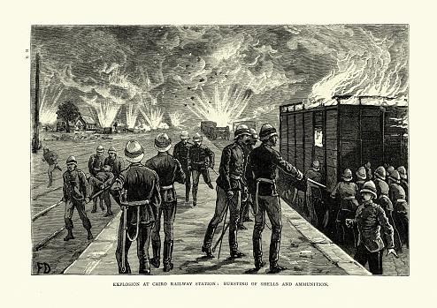 Ammunition depot fire Cairo Railway station, exploding shells, 19th Century