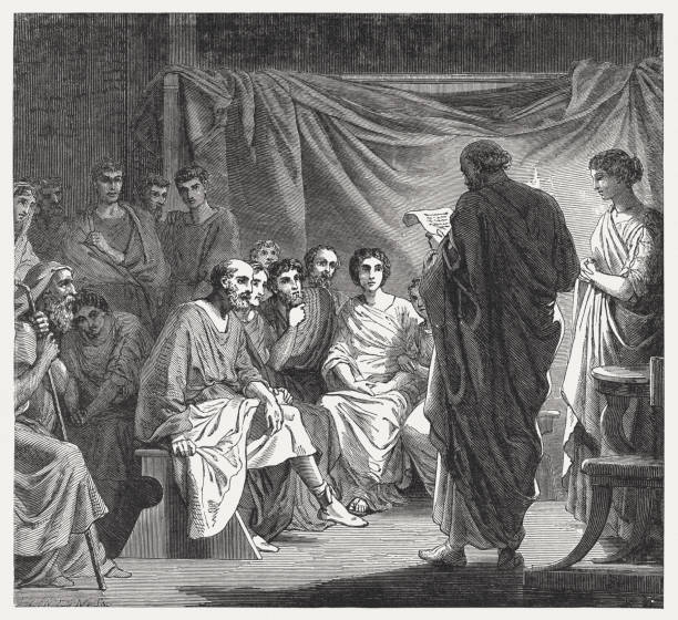 Among the first Christians, a letter from Paul is read A meeting of the first Christians in Rome - a letter from Paul is read. Wood engraving, published in 1886. ancient civilization stock illustrations