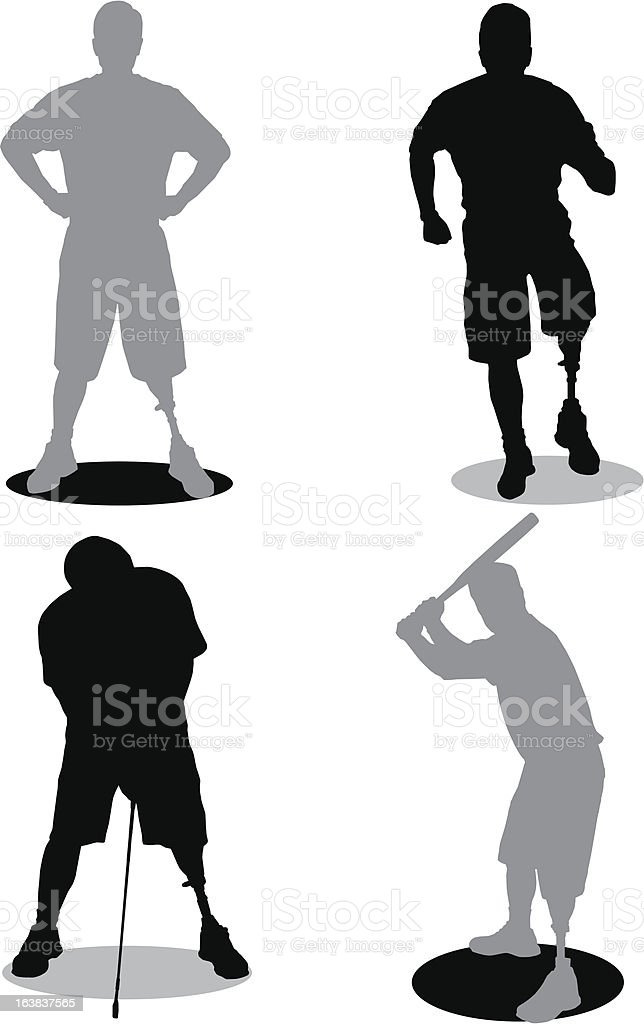 Amputee Silhouettes vector art illustration