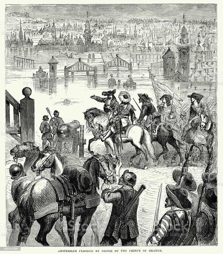 Amsterdam Flooded by order of the Prince of Orange vector art illustration