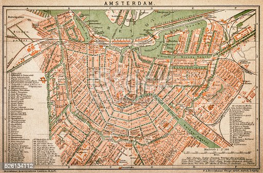 Antquie Map of Amsterdam