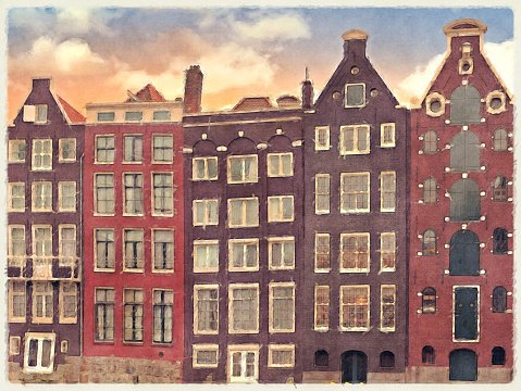 Amsterdam Merchant Houses Watercolour