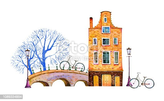 Amsterdam watercolor hand drawn illustration. House with bridge, lanterns, trees and bicycles isolated on white background