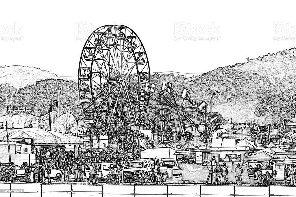 Amusement Park Illustration royalty-free stock vector art