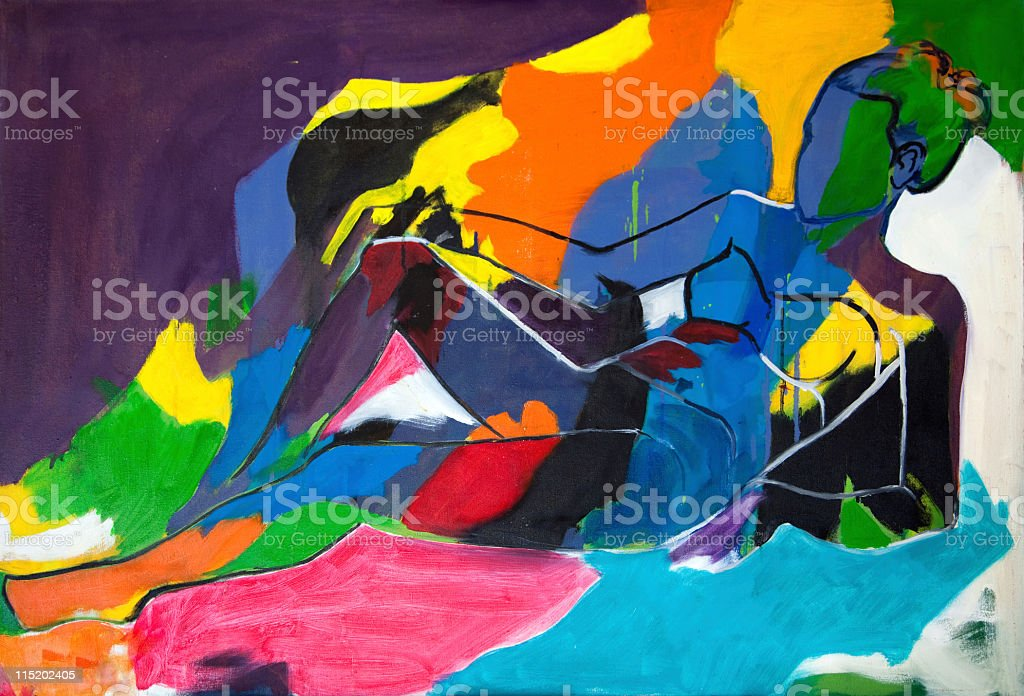 An abstract painting of a woman with bold strokes royalty-free stock vector art