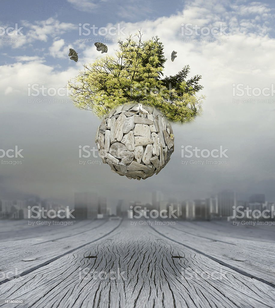 An abstract picture of a stone globe floating in mid air vector art illustration