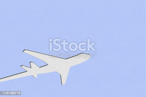 istock An airplane made with colored cardboard 1131180719