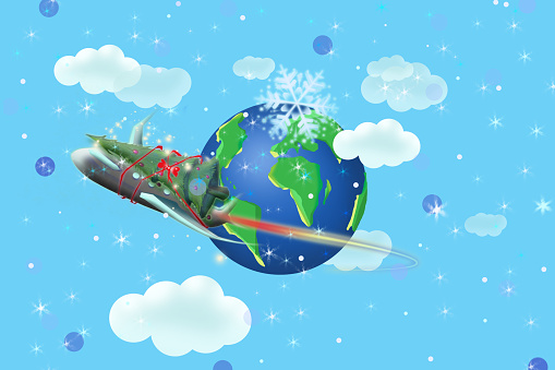 An airplane with Christmas decoration is circling around planet Earth