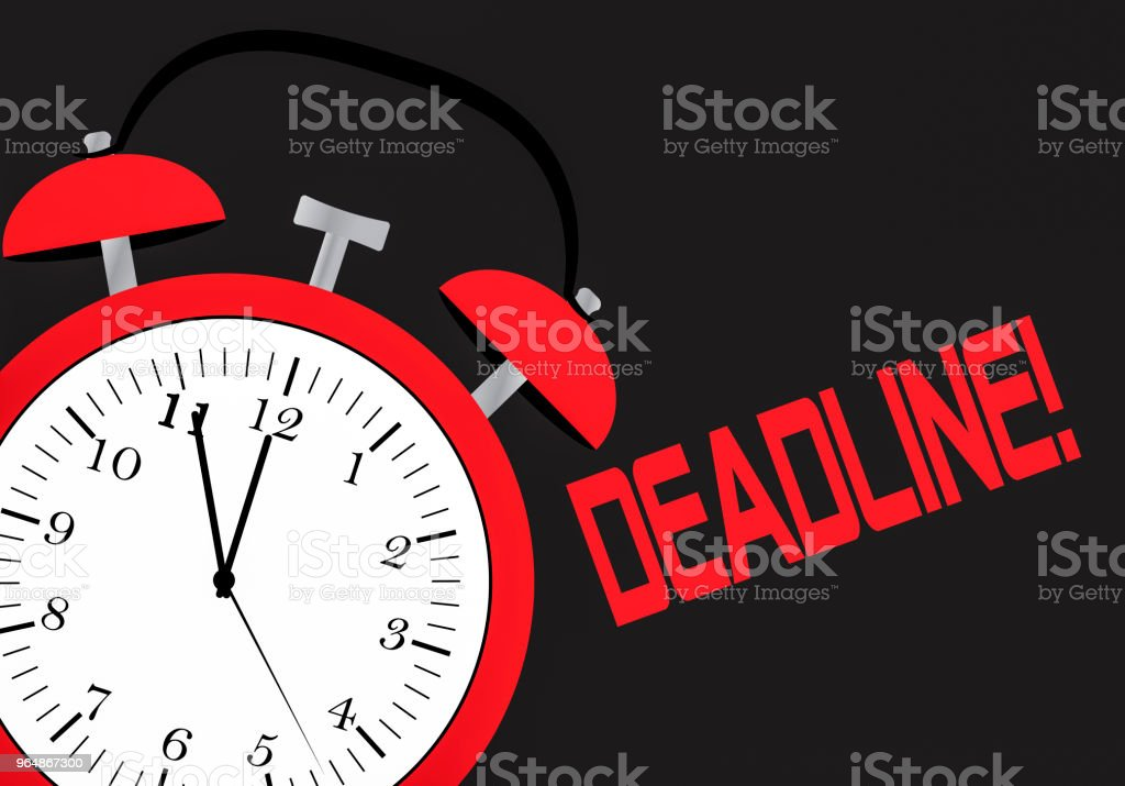 An alarm clock and chalk board with the word deadline royalty-free an alarm clock and chalk board with the word deadline stock vector art & more images of alarm clock