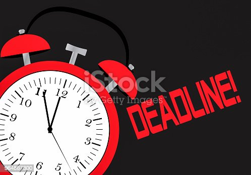 An Alarm Clock And Chalk Board With The Word Deadline Stock Vector Art & More Images of Alarm Clock 964867300