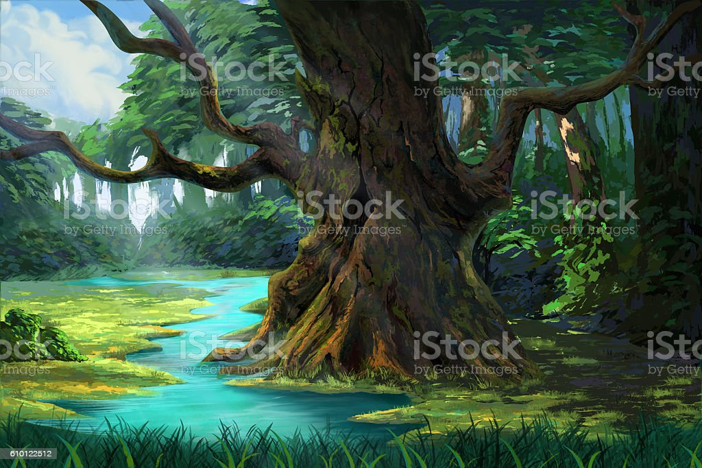 An Ancient Tree in the Forest by the Riverside vector art illustration