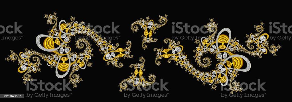 Elaborate spiralling pattern on black fractal vector art illustration