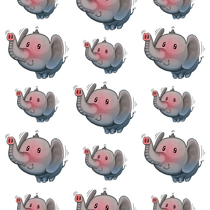 An Elephant Wagging Its Tail Seamless Pattern For Kids