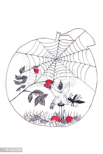 An elf who saw in the garden a web and berries of wild rose. The illustration is framed in the shape of an apple