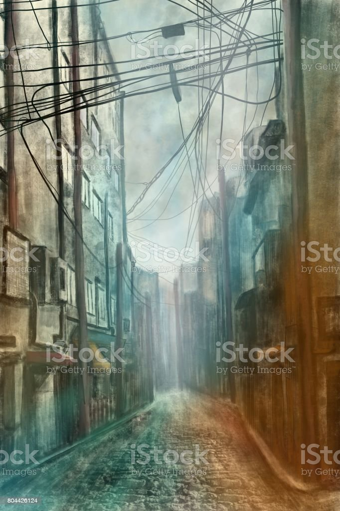 An empty street in a city with electricity cabels - Digital Painting vector art illustration