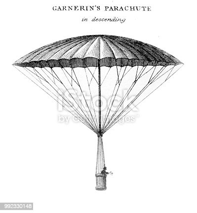 An engraved illustration of Garnerine's Parachute from a vintage book Encyclopaedia Britannica by A. and C. Black, vol. 2, of 1875.