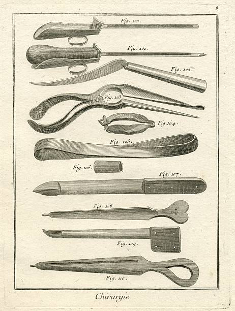 surgical tools of the 18th century antique illustration - whiteway engraving stock illustrations, clip art, cartoons, & icons