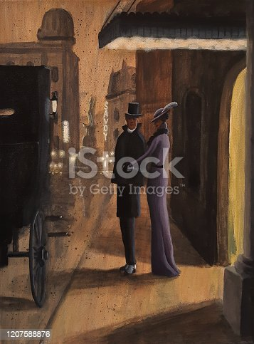 A 1900s era scene of an elegant African American couple about to get into a carriage.