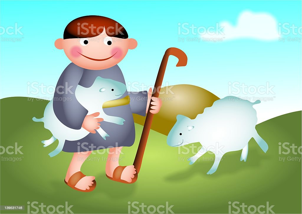 An illustration of a shepherd boy and two sheep vector art illustration