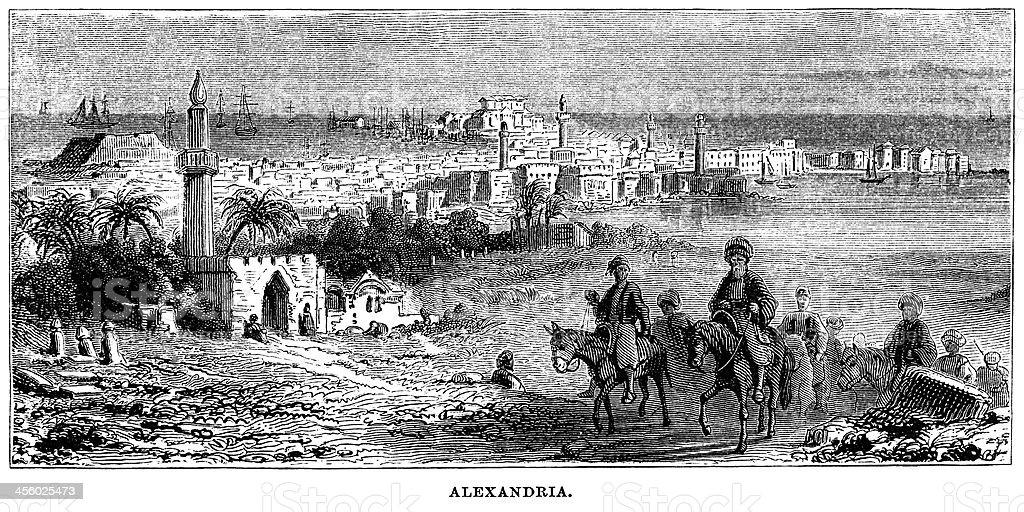 An illustration of Alexandria, Egypt royalty-free stock vector art