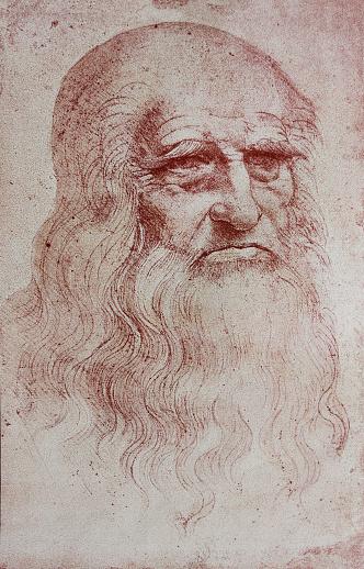 An illustration of Leonardo Da Vinci's portrait from a vintage book