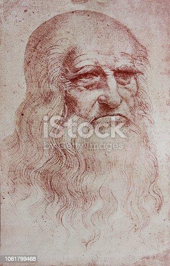 An illustration of Leonardo Da Vinci's portrait from a vintage book Leonard de Vinci, Eugene Muntz, 1899, Paris