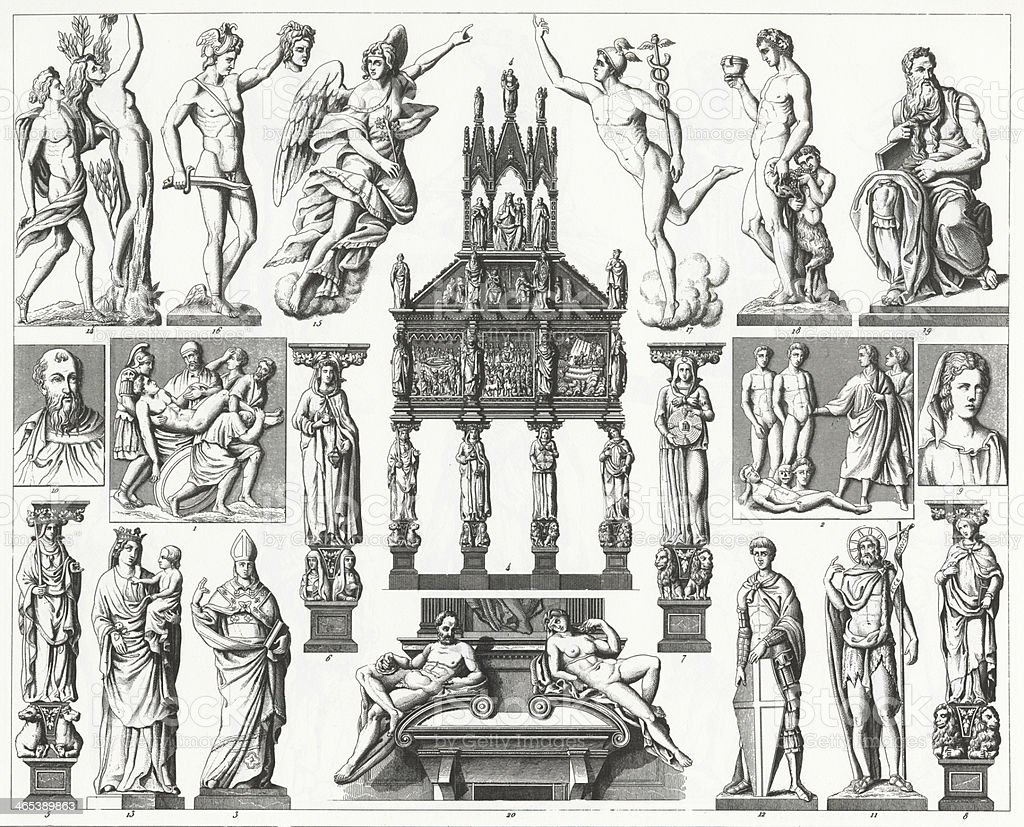 An illustration of Renaissance sculpture from 1851. vector art illustration