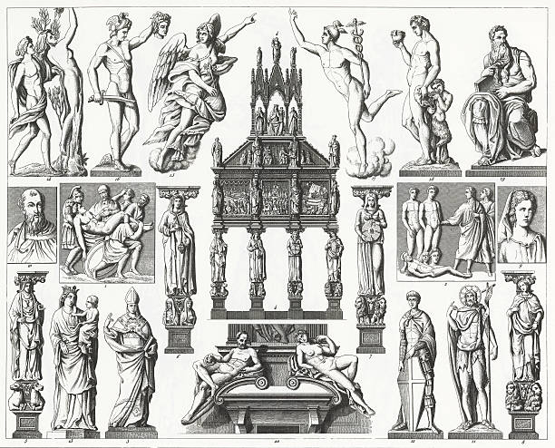 An illustration of Renaissance sculpture from 1851. Engraved illustrations of Renaissance Sculpture from Iconographic Encyclopedia of Science, Literature and Art, Published in 1851. Copyright has expired on this artwork. Digitally restored. moses religious figure stock illustrations