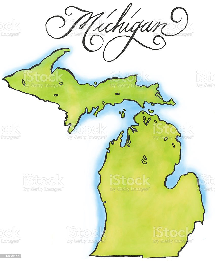 An illustration of the map of Michigan vector art illustration