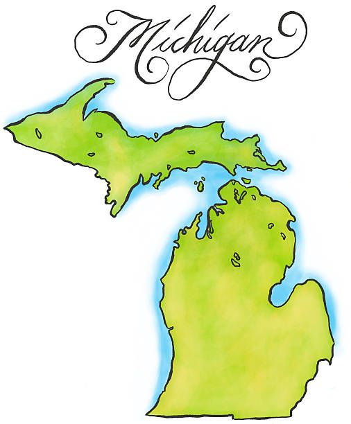An illustration of the map of Michigan An illustrated map of Michigan. RETROROCKET stock illustrations