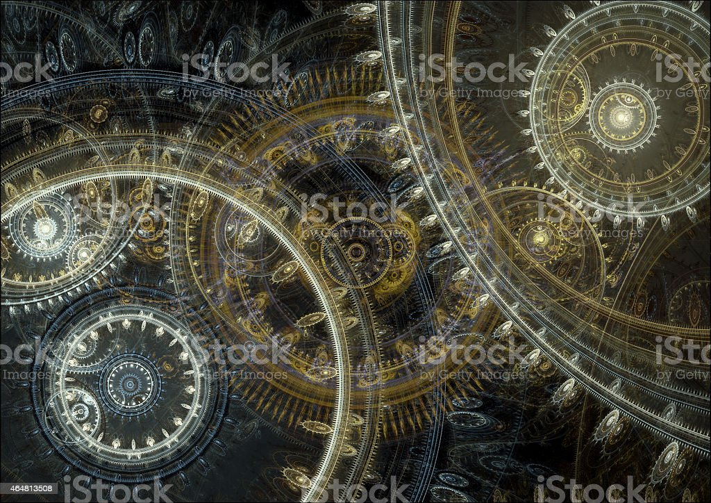 An intricate design of multiple circles on a dark background vector art illustration