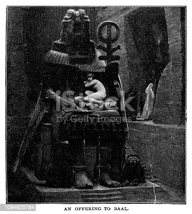 An offering to Baal - Scanned 1890 Engraving