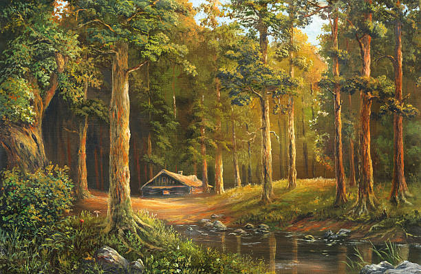 an oil painting of a wooden cabin in a forest clearing - log cabin stock illustrations, clip art, cartoons, & icons