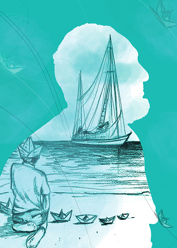 An old man, a child and the sea. Book cover illustration with Underwater blue background.