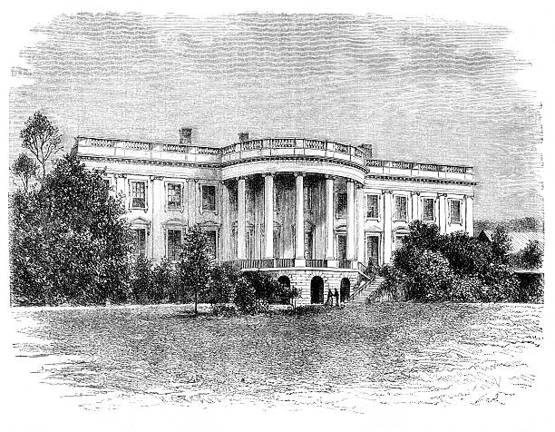 An older picture of the White House White house in Washington. Illustration originally published in Ernst von Hesse-Wartegg's